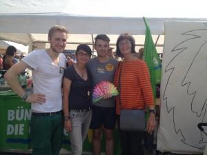 Bundesweite grüne Unterstützung: Lennart Steffen (Landessprecher GJN), Josefina Paul (MdL in NRW, ehem. GJ Braunschweig), Simon Oehlers (Grüne Braunschweig) und Sybille Mattfeldt-Kloth (Landesvorstand Grüne Nds) [v.l.n.r.]
