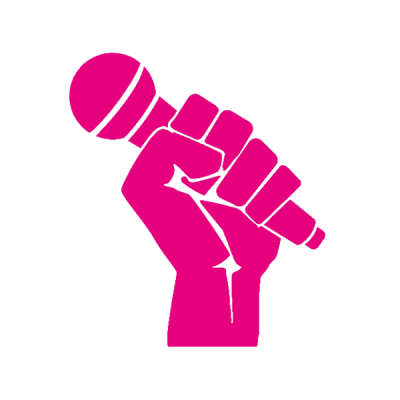 Piktogramm magenta Hand mit Mikrofon