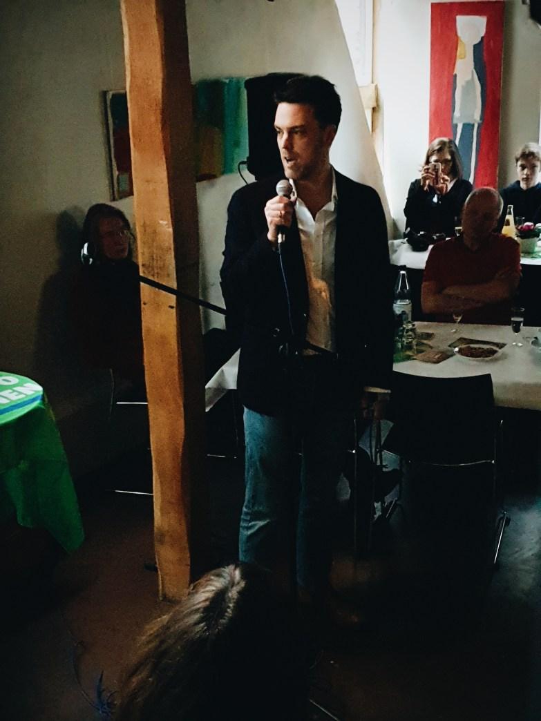 Landratskandidat Robin Wagener beim Neujahrsempfang der Grünen Lemgo 2020