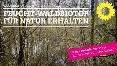 Feuchtbiotop mit Wald, Text: Feucht-Waldbiotop für Natur erhalten - keine zusätzlichen Wege durch schutzwürdiges Kleinod