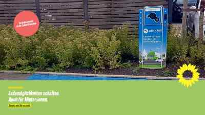 Beitragsbild: E-Auto-Ladestation, Text: Lademöglichkeiten schaffen. Auch für Mieter:innen.