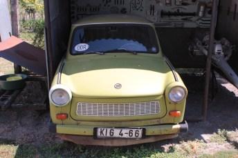 Trabi im Grenzmuseum, den DDR Bürger im August 1989 in Ungarn zurück gelassen haben