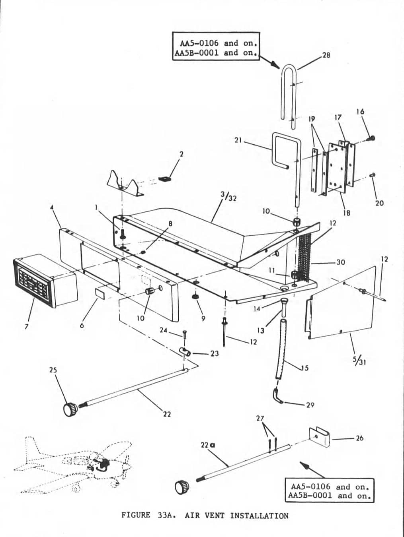 Parts Diagram Grumman Figure 33A AA5 Air Vent Installation