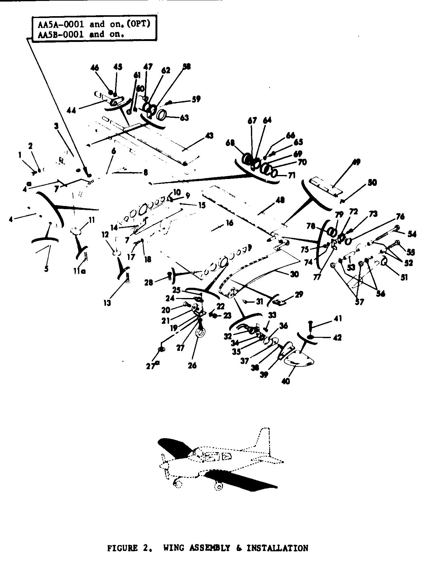 Parts Diagram Figure 2 AA5A OPT AA5B 0001 and on Wing