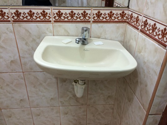Crooked sink at Wiracocha Hotel