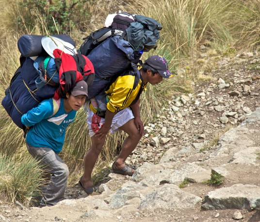 Inca trail porters - Photo by Greg Headley