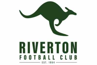 The Riverton Football Club logo as a green kangaroo.