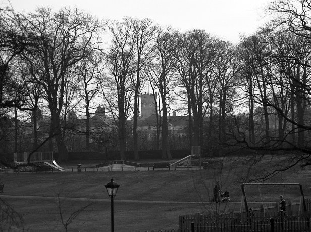 View to the High Royds clock tower from Menston Hall