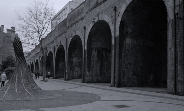 There are some interesting shapes at ground level; these are not railway arches; there's a road on top