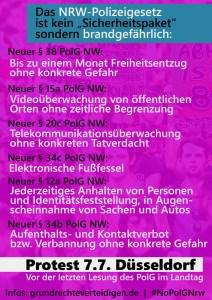 Das Polizeigesetz in Stichpunkten - also am 7.7. auf nach Düsseldorf zum Protest!!! Weitere Informationen folgen!