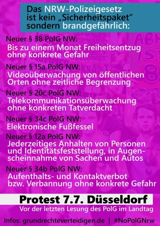Das Polizeigesetz NRW ist brandgefährlich - also am 7.7. auf nach Düsseldorf zum Protest!!! Weitere Informationen folgen!