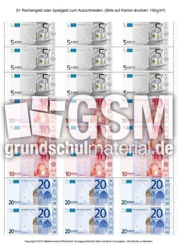 Geld Drucken Kostenlos : drucken, kostenlos, Rechengeld, Spielgeld, Ausschneiden, Geldbeträge, Zerlegen, Rechnen, Größen, Mathe, Klasse, Grundschulmaterial.de