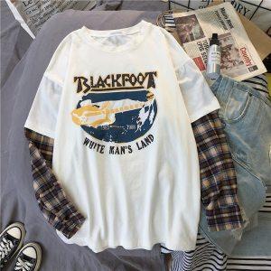 T-shirt grunge Blackfoot couleur blanc