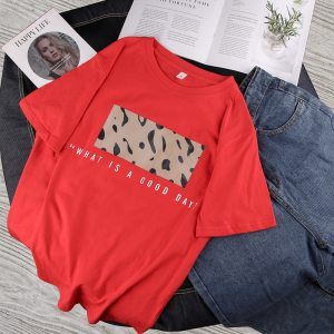 T-shirt streetwear good day rouge