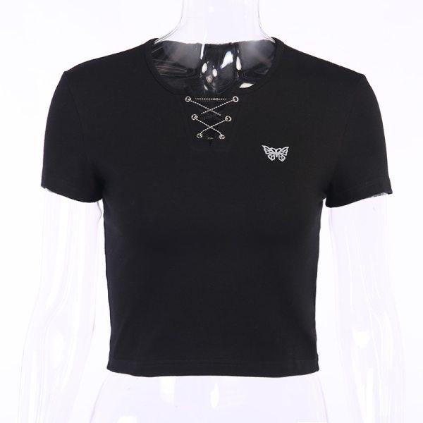 T-shirt gothique - Papillon blanc