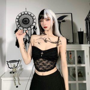 Débardeur noir en dentelle - Gothique