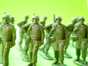 Several green toy soldiers representing local movers Worcester MA