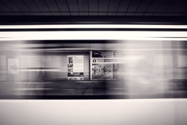 A train passing by in Boston subway.