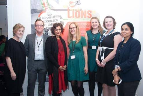 The team at Brent Museum and Archives with Meera Syal ©Pete Webster/Grunwick 40