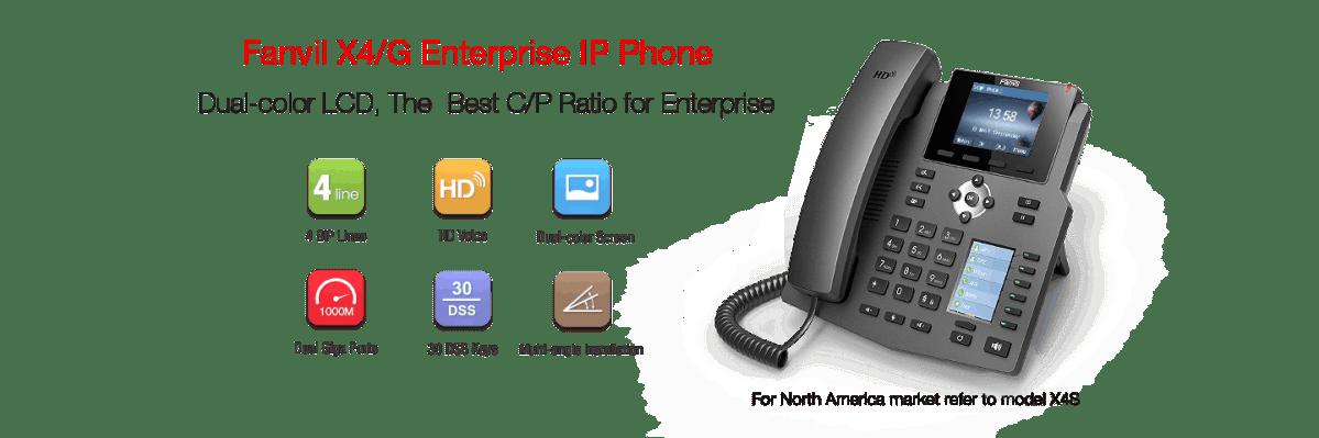 Fanvil X4 teléfono IP de 4 líneas sip para negocios