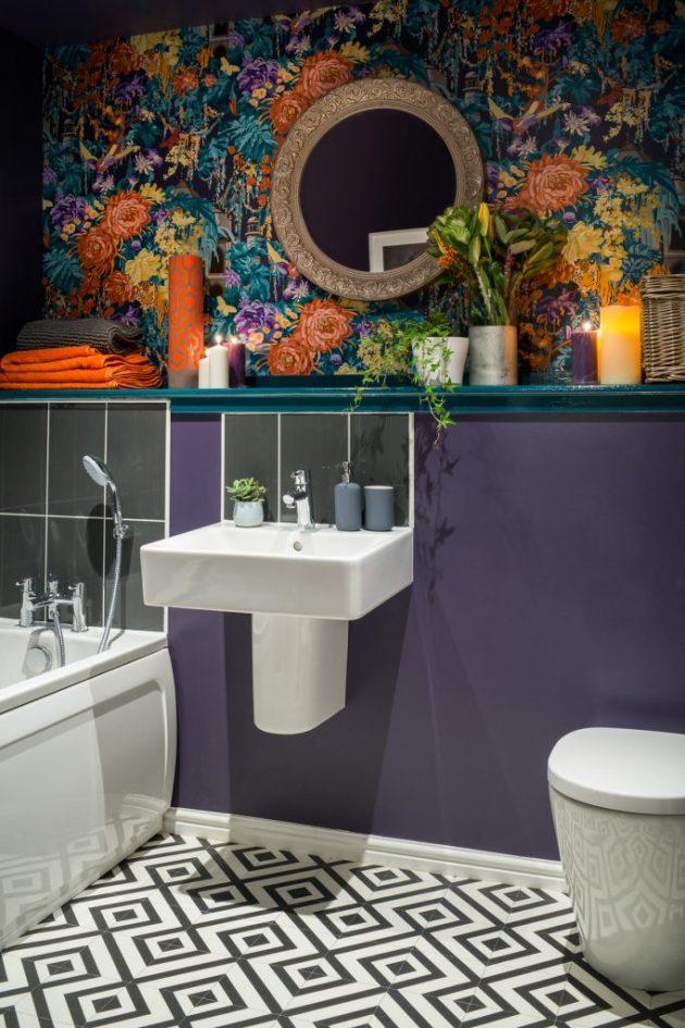 Dormitorio y baño audaces y glamorosos por Victoria Hopkins Interiors