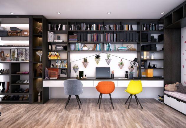 16 brillantes oficinas en el hogar decoradas en estilo moderno