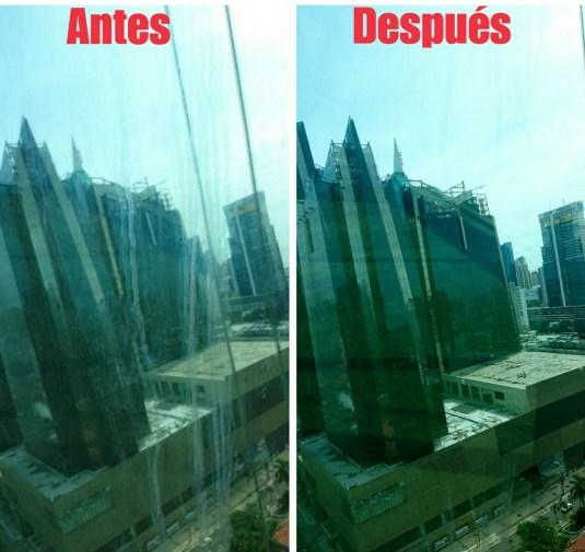 Limpieza de vidrios antes y después