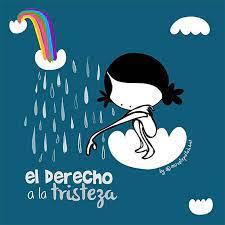 """Un arcoirís que termina en una nube que suelta lagrimas junto a una niña sentada en otra nube que pasa el basro por entre las lagrimas y debajo de todo el texto """"el derecho a la tristeza"""" escrito en dos líneas"""