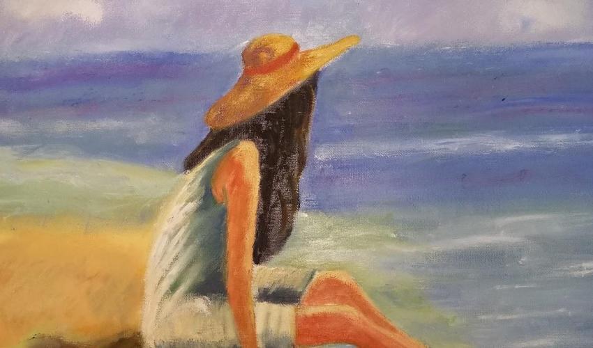 Una chica con un sombrero de ala ancha sentada a la orilla del mar (oleo sobre lienzo de Henar Tejero)