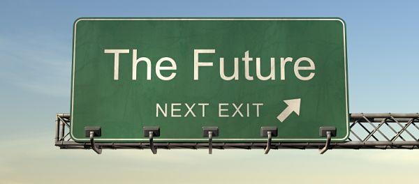 """Una foto de un cartel de carretera estadounidense poniendo """"The Future"""" """"NEXT EXIT"""" (El futuro, siguiente salida)"""