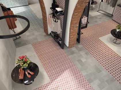 showroom with porcelain encaustic tiles