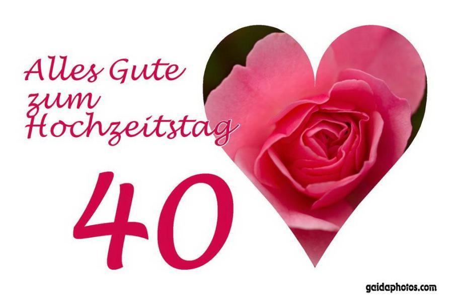 Glückwunschkarte zum Hochzeitstag - Herz, Rose