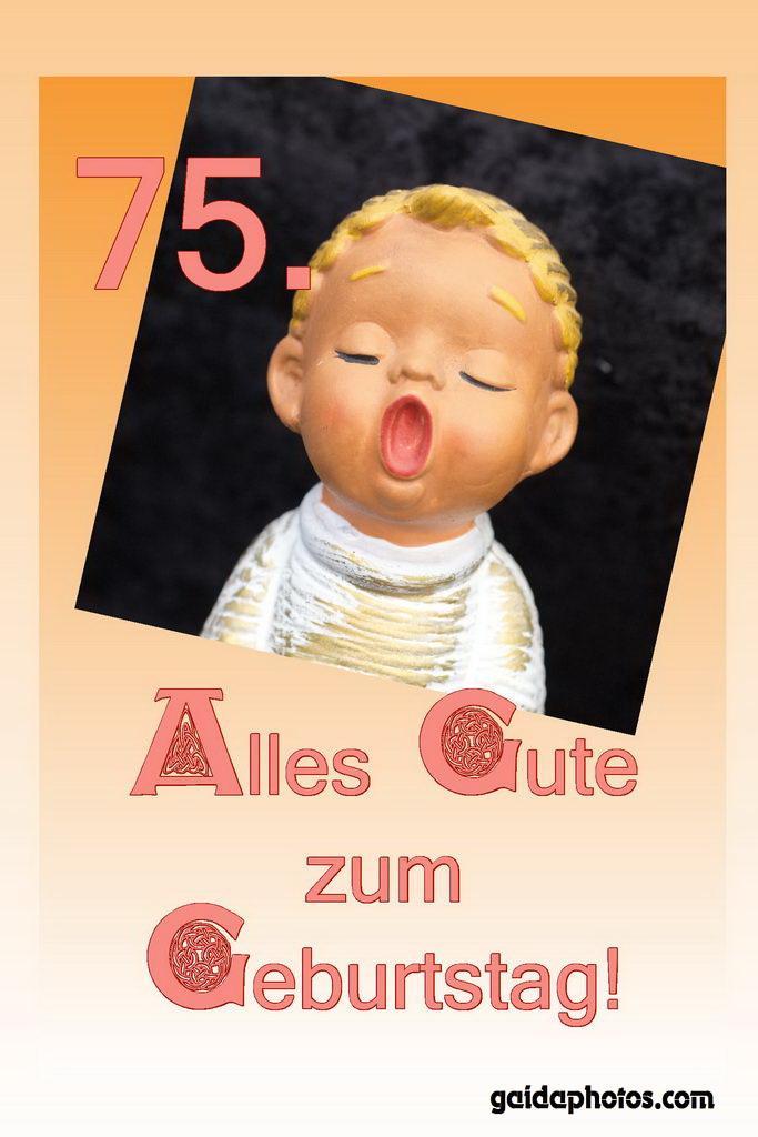 Grußkarte 75. Geburtstag - singender Porzellanengel