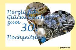 Karte 30. Hochzeitstag Herz Schmuck Perlenhochzeit