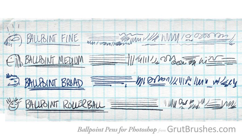 brush stroke samples of the ballpoint pen Photoshop brushes