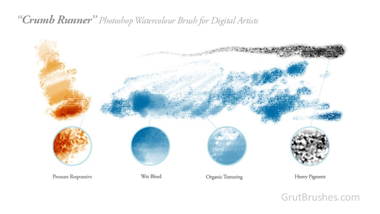 'Crumb Runner' Photoshop Watercolor Brush for digital artists
