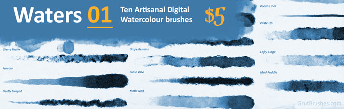 realistic Photoshop watercolour brushes for digital painting