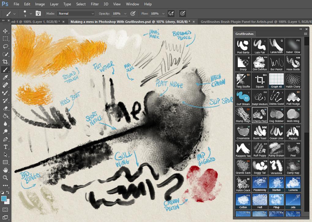 over 200 Photoshop brushes