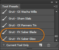 GrutBrushes lightsaber photoshop brushes in the Tool Presets panel