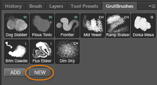 New Button installs brushes directly from your GrutBrushes account