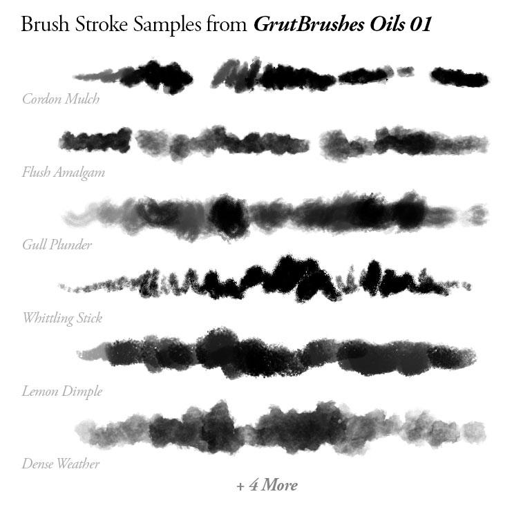 Sample Brush Strokes of GrutBrushes Photoshop oil brushes