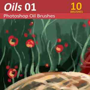 Oils 01 - 10 oil paint brushes for Photoshop