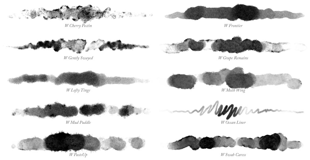 Brush Strokes of all 10 Photoshop watercolour brushes in Waters 01 collection