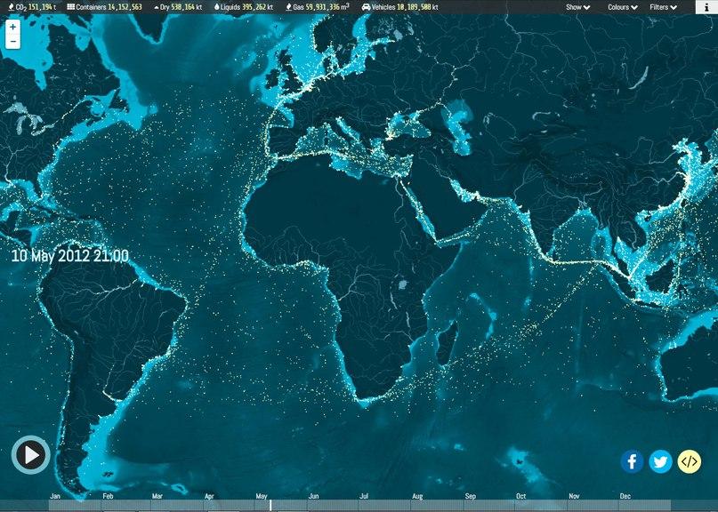 Удивительная интерактивная карта торговых грузовых судов