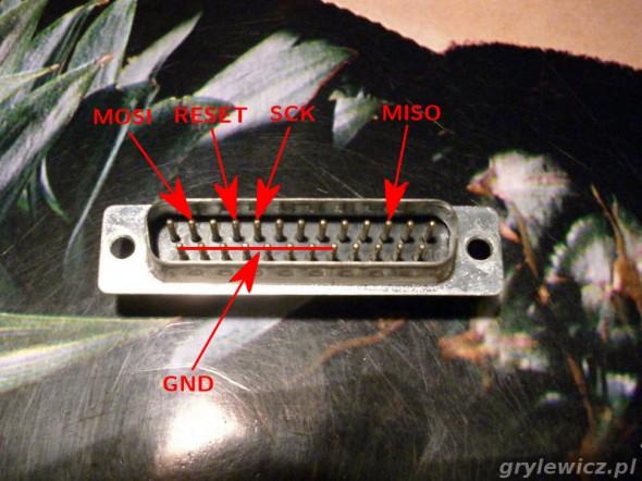 DB25 - programator - piny z przodu