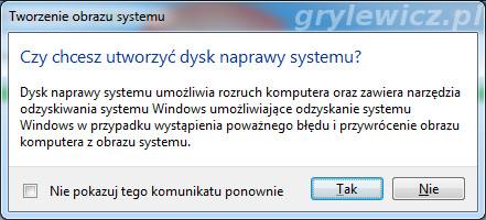 Windows 7 - dysk naprawy systemu