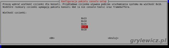 console-setup zmiana rozmiaru czcionki
