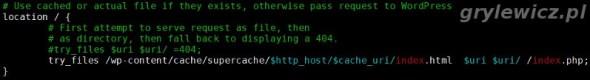 Konfiguracja nginx pod wp super cache