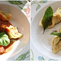 Ravioli fylt med urten, kremost og kjøttdeig