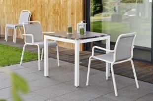 OSKAR krzesła ogrodowe ze stołem STERN. biało-srebrene